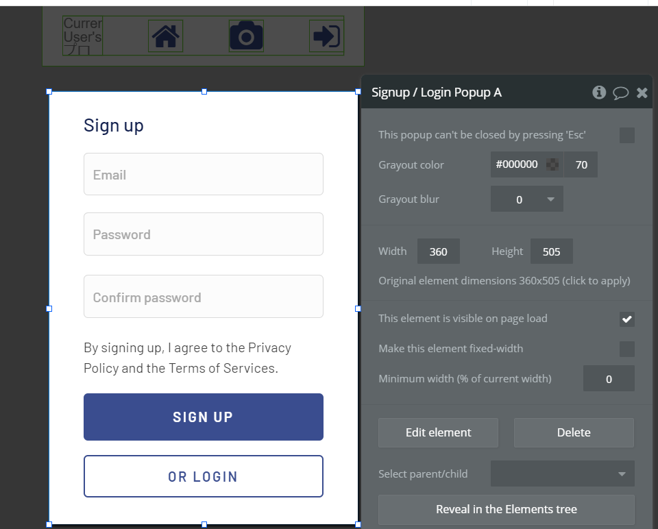 bubble Signup/Login Popupを配置